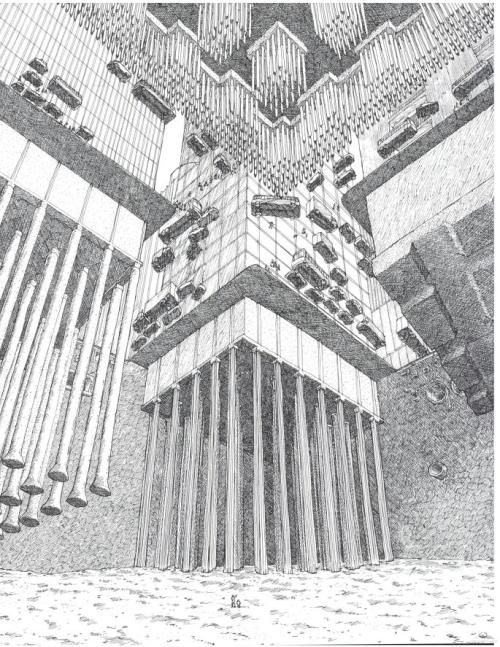 Looking up at a building's foundations and the street above:  Foundations for larger buildings are generally adaptations or combinations of the four types used at our intersection. One is on a floating foundation, another on friction piles, a third on bearing piles, and the fourth on piers.  From David Macualay's Underground, via Things Magazine.