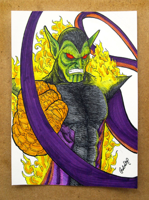 My Super Skrull 1 of 1 5x7 fan art drawing. Made with pencil, copic multiliner pens and copic markers. Check it out at: http://www.etsy.com/shop/doomcmyk also use code: CMYK2011 at checkout and get 25% OFF your total purchase.
