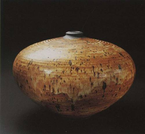 Vivika and Otto Heino: Ovoid vessel with spotted orange glaze