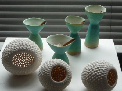 salt cellars and pods pinched porcelain cone 6 oxidation 2009