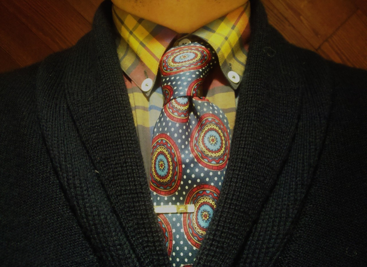 todaystie:  S2A shirt - Paul Smith Tie - Vintage tie clip - S2A Shawl cardigan