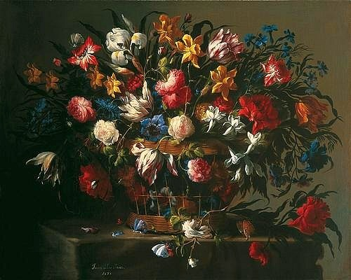 Juan de Arellano Flowers in a Basket 1671