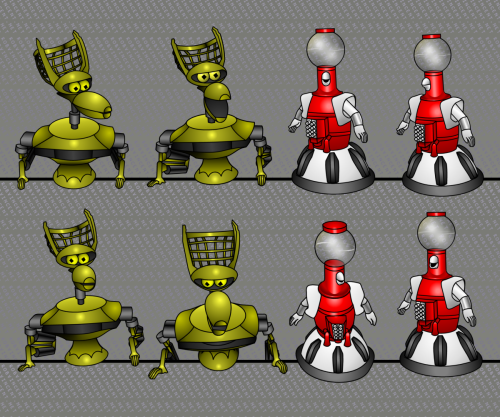 Some 'bot illustrations from my unfinished Mystery Science Theater 3000 fan comic; there's more info on this project in my previous post.  These guys are composed from the library of 'bot images I created for the host segments set on the Satellite of Love's bridge.  Like the cheaper cel animators of old, I can quickly assemble full bots from my library of body parts, tweaking the angles and facial expressions to suit the scene as needed, with far less hassle than it would take to draw new bots each time.  Because of the simple geometry and design of the original puppets, this turned out surprisingly easy to get going. I have so much love for the brilliant cast and crew of MST3K; not only did Joel Hodgson build unique, workable, and appealing puppets from miscellaneous bits and pieces of junk, but thanks to his and the performers' talents these little guys managed to be so damned expressive!  Bringing out the characters' on-screen personalities in these flat vector drawings is so much less arduous a task than it could have been thanks to the brilliant and talented people behind them.  I'm still tweaking these designs and adding more poses to my library, but they're reasonably close to being finalized. Some MST3K fan artists have taken more complete advantage of the medium to regularly show off the 'bots in ways rarely seen on the show; Crow walking around on visible legs, Servo's arms actually working, etc.  I generally prefer to keep my MST3K stuff closer to the show's original spirit.  The 'bots I draw still mainly hang out at a countertop because in my mind's eye, there are still puppeteers hidden behind it. While these illustrations are my work Mystery Science Theater 3000 and all related characters remain © Best Brains, Inc., who reveled in the fact that we could see the strings.