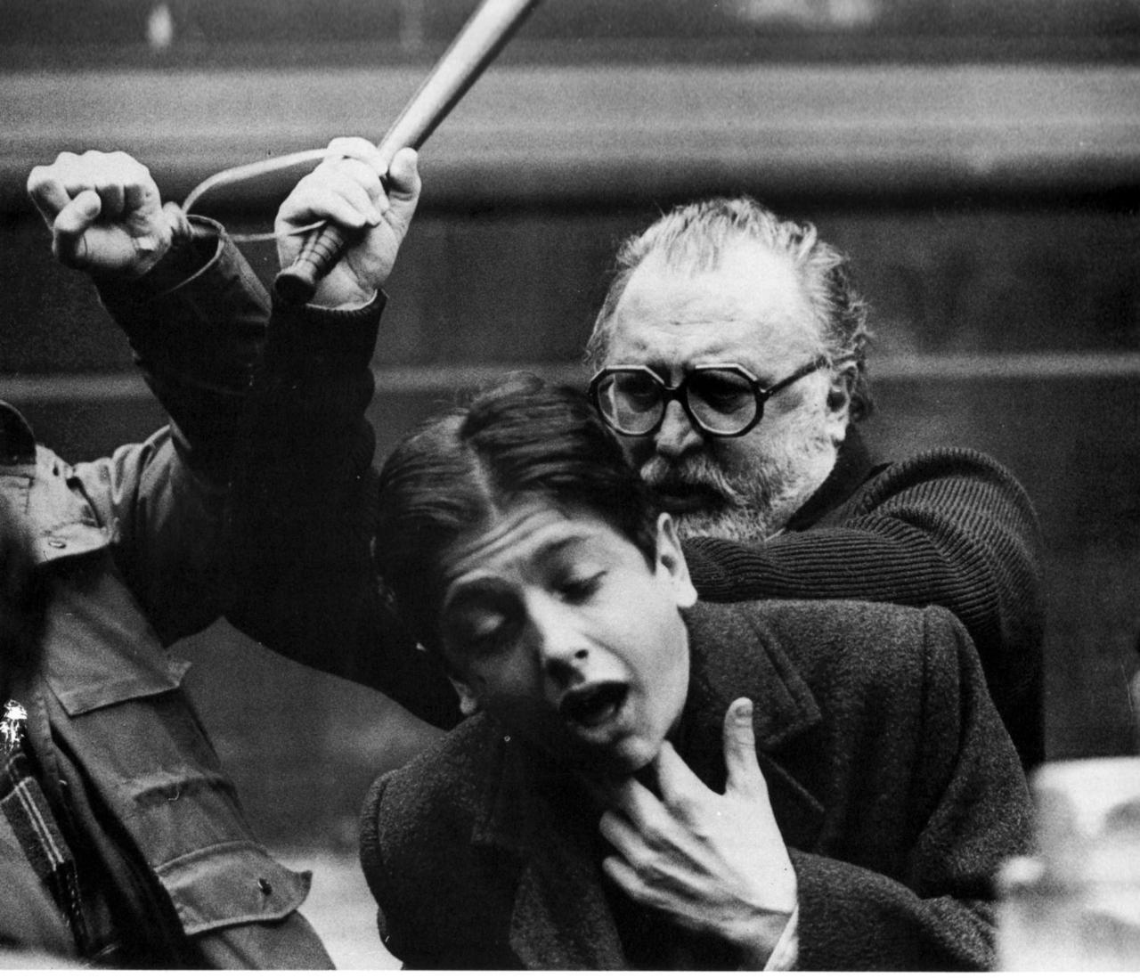 i12bent:  Sergio Leone, Italian film director and undisputed master of the  'spaghetti western' genre: Jan. 3, 1929 - 1989… Leone, whose  signature use of close-ups and monumental formats gives his films their  unmistakable look, also directed epics such as Once Upon a Time in America, dramatising the immigrant experience via another set genre - that of the gangster dynasty flick… Photo of Leone directing a scene in Once Upon A Time in America
