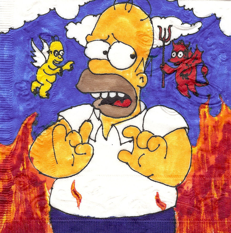 Decisions, decisions!  Homer in conflict.  Napkin art.