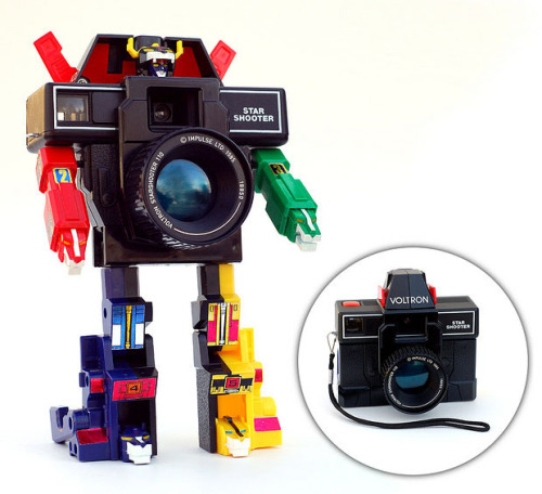 "I would've played with this when I was young. Voltron Star Shooter Masquerades an an Ordinary SLR CameraIf you're looking to get your kid hooked on photography from an early age, giving them this Voltron Star Shooter toy might be a good place to start. Made in 1985, it starts out as an innocent looking SLR camera but transforms into a beastly Voltron action figure. The best part of it is that it's actually a working 110 camera, even though the big SLR lens on the front is fake (the real lens is above it). This brings new and awesome meaning to the term ""toy camera"". And here's the classic ""Form Voltron!"" sequence:"