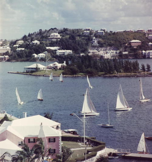 "katespadeny:golfkat: ""Bermuda View"" View from the Bermudiana Hotel looking towards Paget, in the foreground the Royal Bermuda Yacht club. - Slim Aarons (1957)."