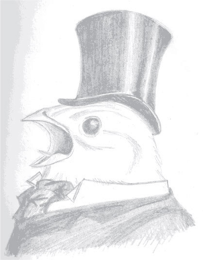 … and this is a bird wearing some Victorian era garb.