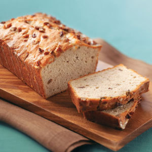 Lightened-Up Special Banana Bread Recipe 24 Servings / Prep: 25 min. Bake: 55 min. + cooling Ingredients: 1 package (8 ounces) reduced-fat cream cheese 1/2 cup butter, softened 1-1/2 cups sugar 2 eggs 1-1/2 cups mashed ripe bananas (about 3 medium) 1/2 teaspoon vanilla extract 3 cups all-purpose flour 1/2 teaspoon baking powder 1/2 teaspoon baking soda 1/2 teaspoon salt 1 cup chopped pecans, divided Orange Glaze 1 cup confectioners' sugar 3 tablespoons orange juice 1 teaspoon grated orange peel Directions: In a large bowl, beat the cream cheese, butter and sugar until well blended. Add eggs, one at a time, beating well after each addition. Beat in bananas and vanilla. Combine the flour, baking powder, baking soda and salt; gradually add to creamed mixture just until moistened. Fold in 1/2 cup pecans. Transfer to two 8-in. x 4-in. loaf pans coated with cooking spray. Sprinkle with remaining pecans. Bake at 350 degrees F for 55-60 minutes or until a toothpick inserted near the center comes out clean. In a small bowl, whisk the glaze ingredients; drizzle over loaves. Cool for 10 minutes before removing from pans to wire racks to cool completely. Yield: 2 loaves (12 slices each). Nutrition Facts: 1 slice equals 235 calories, 10 g fat (4 g saturated fat), 34 mg cholesterol, 157 mg sodium, 34 g carbohydrate, 1 g fiber, 4 g protein.