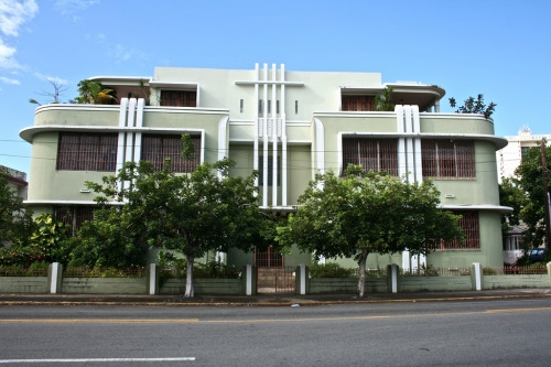 Art Deco Apartments, Miramar, San Juan, Puerto Rico Classic, classy Deco in Puerto Rico. From the submitter:  Part of Miramar historic district. Looks like a ship. :)  See more Puerto Rican Deco.