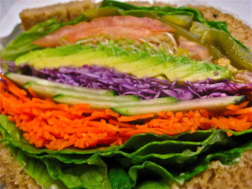"My favorite veggie sandwich, from Lenny's Healthy Eating 2011 Like most of you out there, I'm feeling a little gross after holiday over-indulgence. Here's the detox I followed for two weeks last year, complete with some great meal ideas. This year I'm not feeling as terrible, so I'm not going to treat this as a ""detox,"" but more so just a healthy eating boost. I'm on day three and I haven't had any meat, dairy, or processed sugary snacks or baked goods (my Achilles' heel). Luckily red wine and dark chocolate (two of my most beloved vices) are good for you in moderation. (Yesterday, the Early Show did a segment about the health benefits of chocolate; read more here). If I have one of these treats in addition to my complex carbs and veggies, I won't beat myself up. Also, taking a page from Ms. Nadia, I'm now drinking a cup of hot water and lemon juice every morning before I do anything else, as a pre-day clense. Read her article about this here. Does anyone know the truth about eating fruit first thing in the morning on an empty stomach? I've heard it's good for you—that you absorb more nutrients and it cleanses your body—but I see a lot of contradicting information about it online. Leave a comment if you know the answer, or have any other good healthy eating/detox advice."