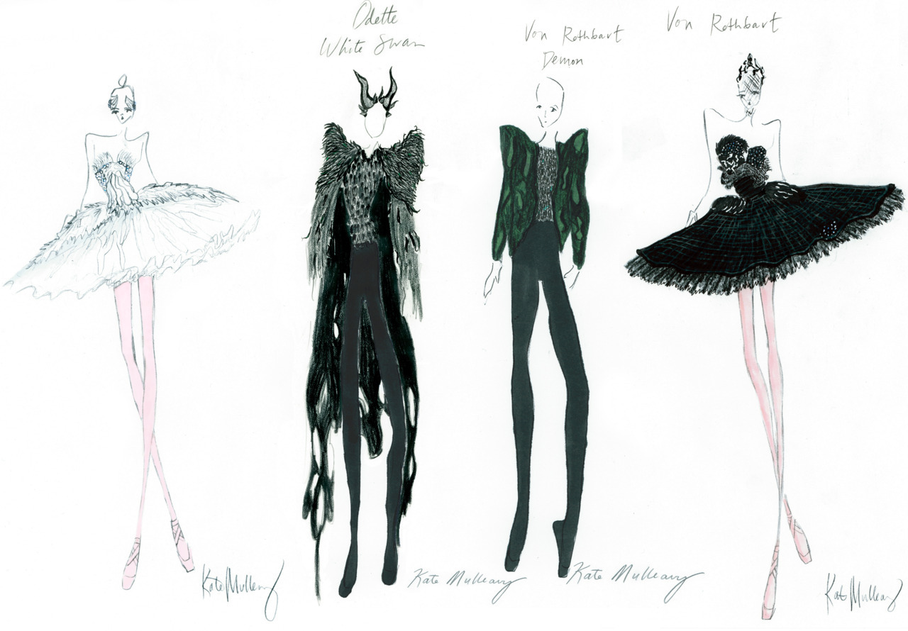 sketches of costumes designed by the wonderful RODARTE for BLACK SWAN.