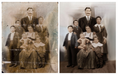 This is a great example of the transformation a Full Digital Photo Restoration can have on a photograph. This picture is over 100 years old and had been folded and severely creased over the course of its storage life. When it was brought in the picture was cracked and very brittle. The print began it's 10 day restoration journey by being photographed by our staff in house. It was then restored by hand -digitally in the computer- by our restoration staff. We then finalized the job by printing the restored file onto one of our exquisite fine art watercolor papers. Total for the order; Digital Copy File $18.50 Restoration $75.00 Giclee Print 16x20 $38.15 Total $131.65