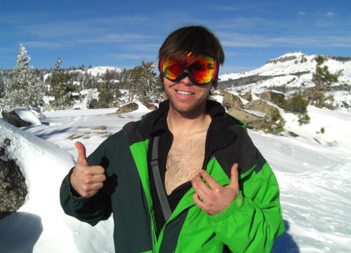 Tim Eddy showing off his chest hair. He killed a few gnarly shred lines today!