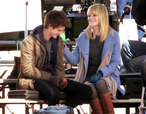 I assume on the set of the Spiderman Reboot. Daaawwww, so adorable!