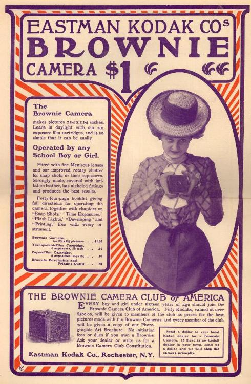 earwigbiscuits:  Kodak Brownie ad from Youth's Companion magazine, 1900