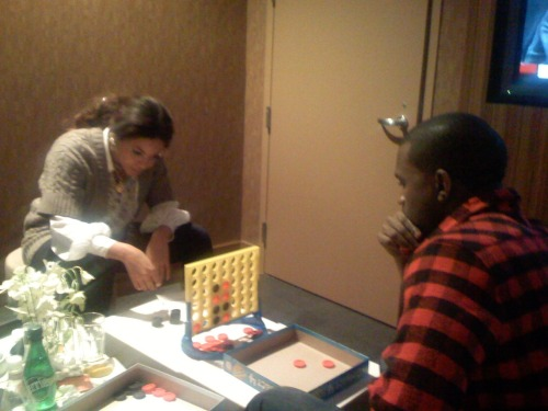 Beyonce and Kanye playing Connect Four