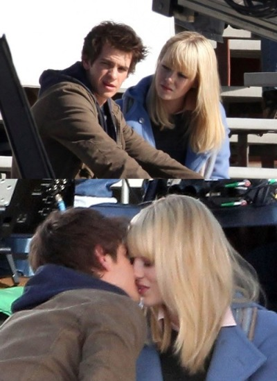 thedailywhat:  First Look of the Day: Andrew Garfield and Emma Stone share a kiss as Peter Parker and Gwen Stacy on the set of Marc Webb's Spider-Man reboot. [celebgossip / ontd.]