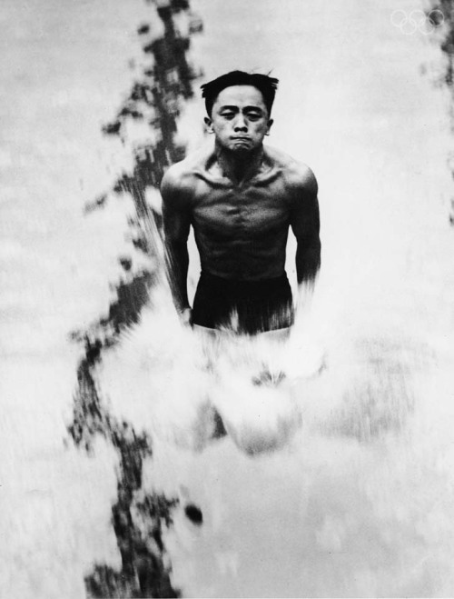 "American diving champion Sammy Lee enters the water, his upper body completely rigid with straining muscles, during the 1948 Olympics, London, England, August 6, 1948. (Photo by FPG/Getty Images) Dr. Samuel (""Sammy"") Lee (born August 1, 1920) is the first Asian American to win an Olympic gold medal for the United States and the first man to win back-to-back gold medals in Olympic platform diving. His dream of becoming an Olympic diver was not easy; because of discriminatory policies, he could only practice at the local training pool the one day a week when non-whites were allowed in (astoundingly, after the non-white day, the pool was entirely drained and refilled with ""clean"" water). When he couldn't use the pool,  Lee would practice jumping into a sand pit."