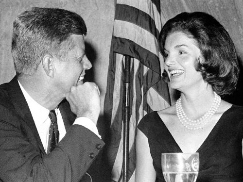 Mr. and Mrs. Kennedy at a State dinner.