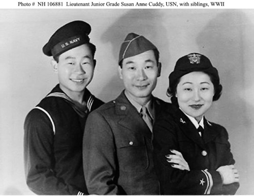 Lieutenant Junior Grade Susan Ahn Cuddy, USN In 1942, like many Korean Americans, the three Ahn siblings, Ralph, Philip, and Susan, children from California's first Korean immigrant family, enlisted in the U.S. military. The Ahn sister, Susan Ahn Cuddy, was the first Korean American woman in the U.S. military and the first female Navy gunnery officer. For her service in the WAVES, she reached the rank of Lieutenant.