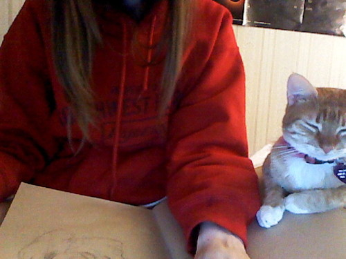 My Dinah has been watching me sketch all night.