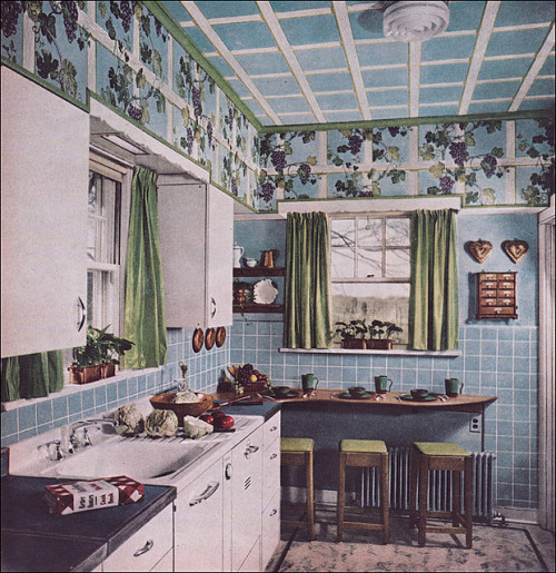 1949 Kitchen with Grape Arbor (by Rikki Nyman)