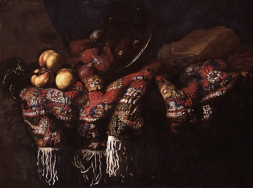 Francesco Noletti Still Life with Fruit, Turkish Rug and Book 1654