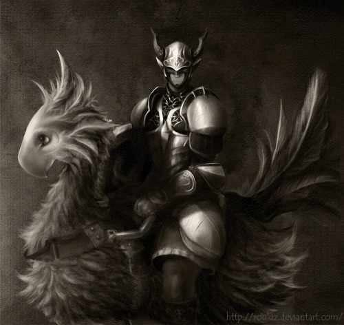 Chocobo and knight by Roukiz. I love the formality of the piece. It seems like a commissioned portrait :)