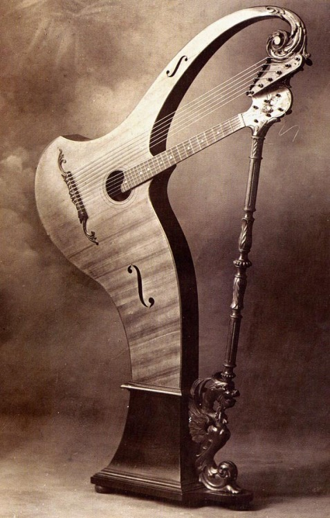 hellhoundonmytrail:  Cesare Candi harp guitar, date unknown The Harp Guitars of Settimio Gazzo and Other Genoese Luthiers