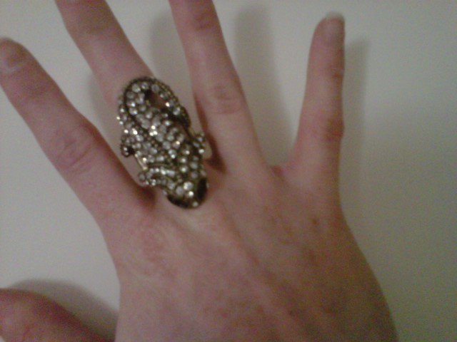 "Do you like my new ring? I like to pet it and ""pretend"" I'm talking to it."