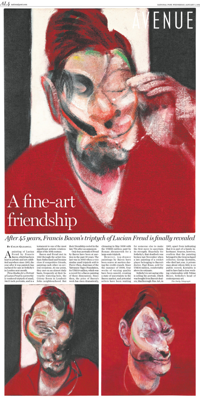 A fine-art friendship: After 45 years, Francis Bacon's triptych of Lucian Freud is finally revealed.