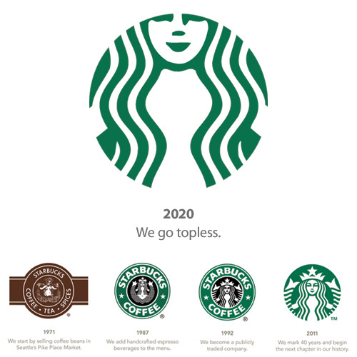 jeremywatt:  I like the new Starbucks logo but it seems as though they just keep zooming in on the naked mermaid. My guess is by 2020 the logo will just be her cropped breasts. To celebrate this the Baristas will work topless and their cups won't have lids.