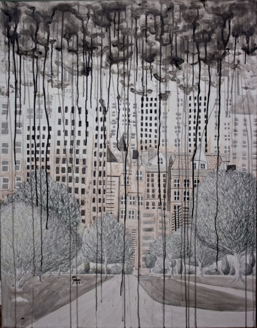 "The City You Live In Graphite + Ink on Canvas, 201037"" x 47"""