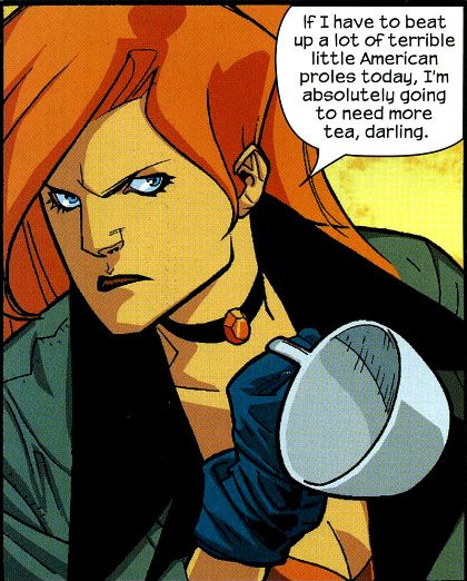 "momentofellis:   ""…more tea, darling"" - Nextwave 01 (Director's Cut) - art by Stuart Immonen. 2006."