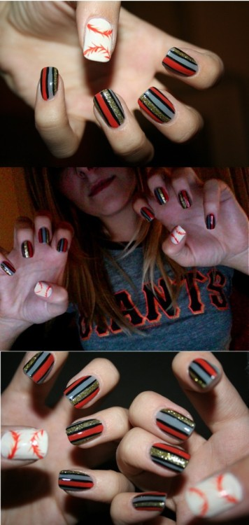 nailcrazy:  http://xanadujulie.tumblr.com/post/1412973792/world-series-nails-lets-go-giants-photo  This is really well-done!
