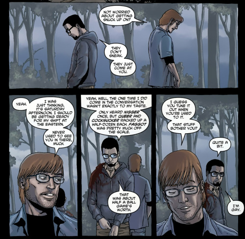 Getting to know you better during the apocalypse. from Crossed #5, written by Garth Ennis and illustrated by Jacen Burrows