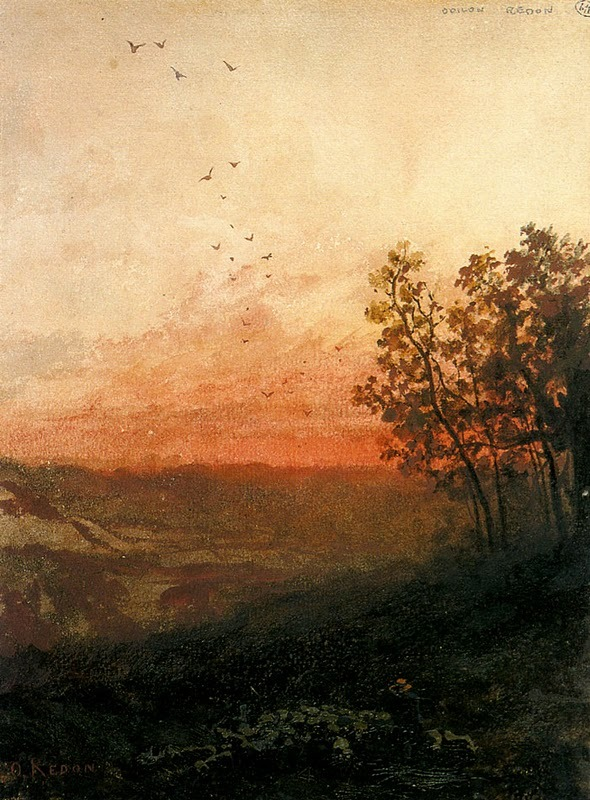 guinilde:  Landscape with Sunset, Odilon Redon