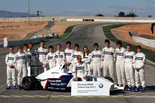 This is the group of drivers that officially qualified for the Formula BMW Talent Cup 2011. Sebastian Vettel was there to give the group some advice - not only about actual driving - but also about what it takes to be a Fomula One driver: commitment, dedication and confidence in our abilities. We were also spoken to about media awareness, PR knowledge and the dos and don'ts of social-networking. It's all very complicated really…