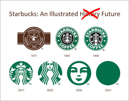 "So today, Starbucks unveiled their new logo. They took out the company name and enlarged the mermaid. It's a '""fuck you, you should already know who we are by now""."