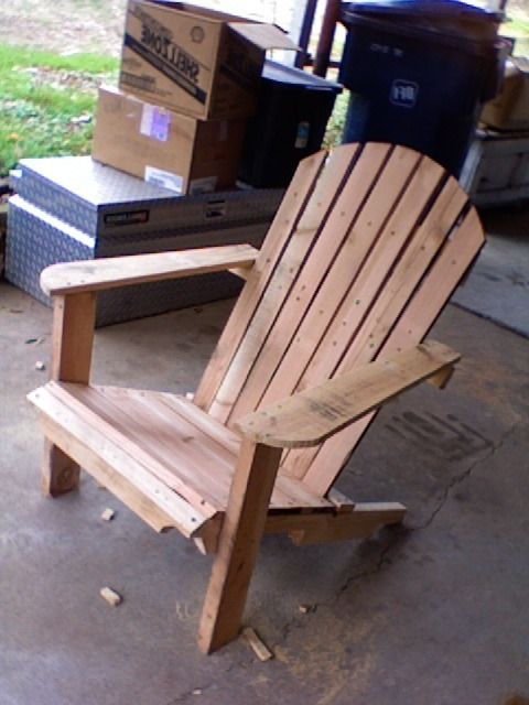 Mr. J. Baggett from North Carolina made this amazing chair from the PAC PDF DIY guide. His approach mixed up the design by using the pallet runners as legs, adding seat slats to the back for comfort, and rounding the edges where necessary. His next steps are to sand it down and most likely…sit! Great job Mr. Baggett! Someone is soon to be comfortable in North Carolina!