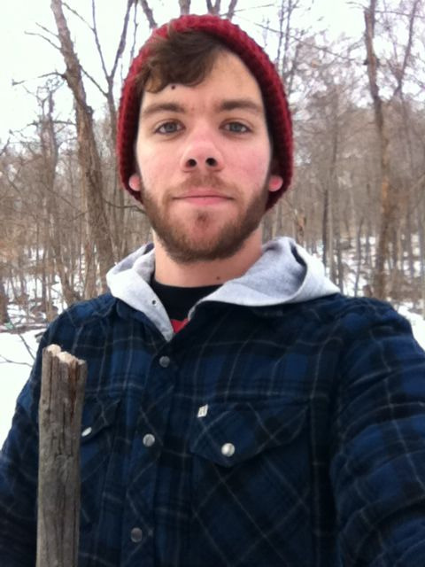 Myself and my trusty walking stick—which I found in the woods and altered to my woodsman liking. ~Apparently my head was bleeding. .