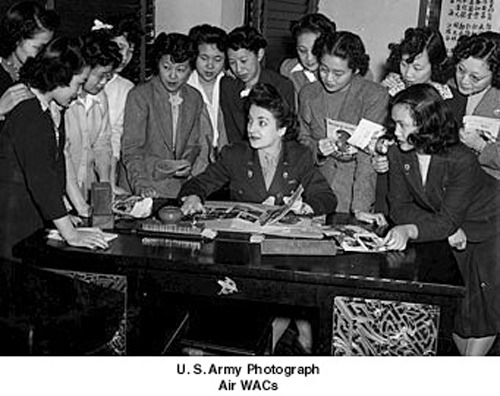 "In 1943, the Women's Army Corps recruited a unit of Chinese-American        women to serve with the Army Air Forces as ""Air WACs."" The Army lowered        the height and weight        requirements for the women of this particular unit, referred to as the Madame        Chiang Kai-Shek Air WAC unit. Air WACs served        in a large variety of jobs, including aerial photo interpretation, air traffic        control, and weather forecasting."