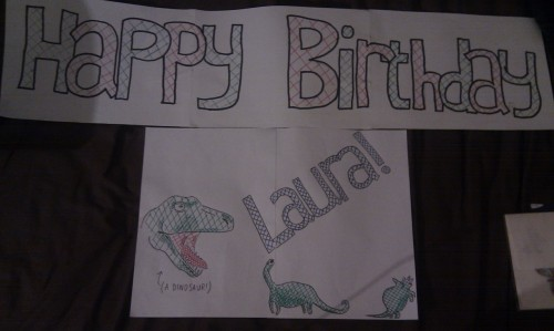 made this banner for my housemate's birthday tomorrow today, I hope she likes dinosaurs.
