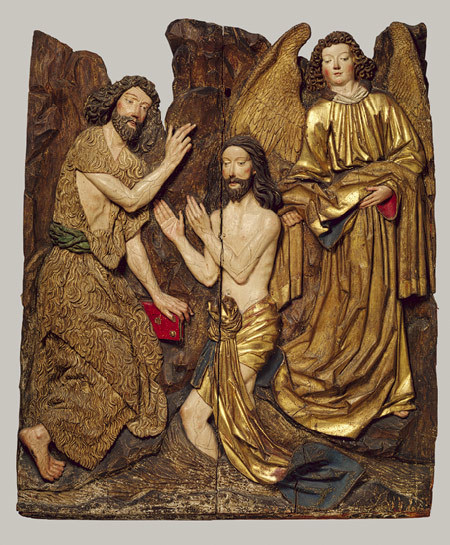 The Baptism of Christ, by a pupil of Veit Stoss, ca. 1480–1490, Cracow, Lindenwood with polychromy and gilding, 120.6 x 99.6 cm, the Metropolitan Museum of Art, New York