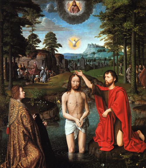 The Baptism of Christ by Gerard David, Triptych of Jean Des Trompes (central panel), 1505, Groeninge Museum, Bruges, Belgium
