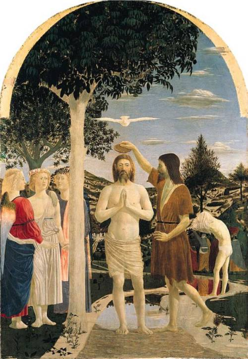 The Baptism of Christ by Piero della Francesca, 1440-45, egg tempera on poplar, 167 x 116 cm, London, National Gallery