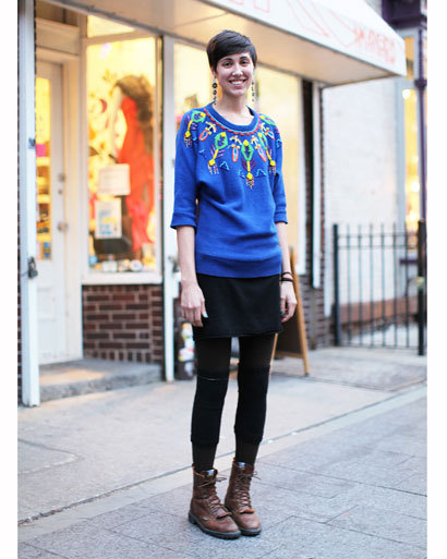 Who: Lauren Gorlaski Where she works: Amarcord Vintage, Williamsburg What she's wearing: vintage sweater from Goodwill, DKNY skirt, vintage boots from Amarcord, H&M tights Shop Girls: Brooklyn Street Style