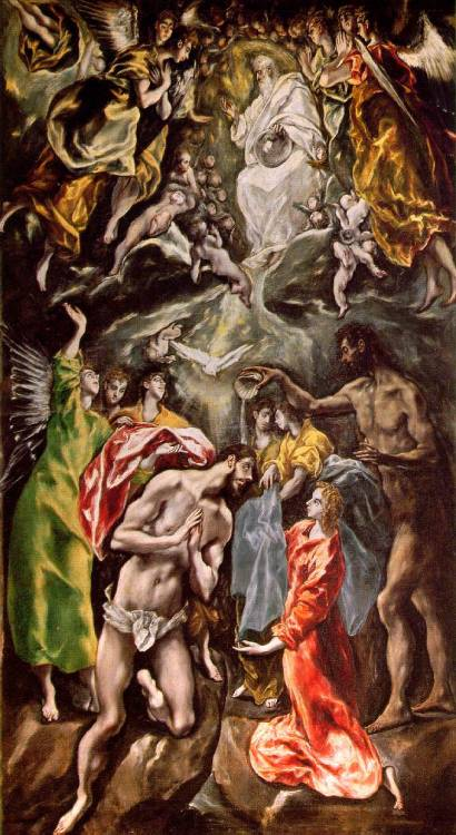 The Baptism of Christ by El Greco (Domenicos Theotocopoulos), 1597-1600, oil on canvas, 350 x 144 cm; Museo del Prado, Madrid