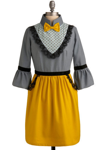 Square Dancing Queen Dress: $129.99 There's  so much more about  this frock, we'd talk about it 'round the clock! The  velvet belted  sleeves and waist, the polka dot bib so aptly placed -  we saved our  favorite thing for last, the dainty bow tie has so much  sass! Now meet your partner and promenade - you dressed so well, you have it made!